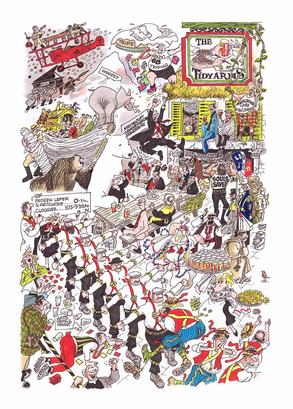 The Tidy Arms is a limited edtion print which includes many of Bill Tidy's most famous characters