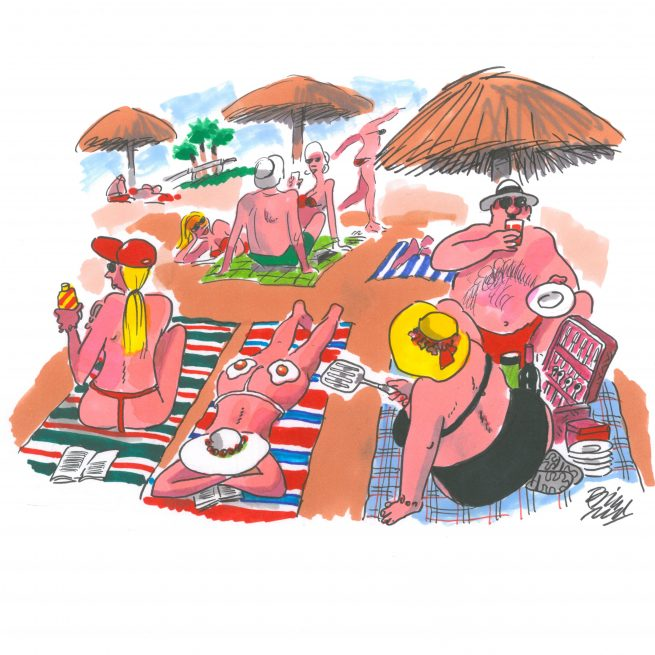 Frying eggs on the beach - An original A4 landscape colour cartoon by Bill Tidy MBE measures 210 × 297 millimeters or 8.27 × 11.69 inches