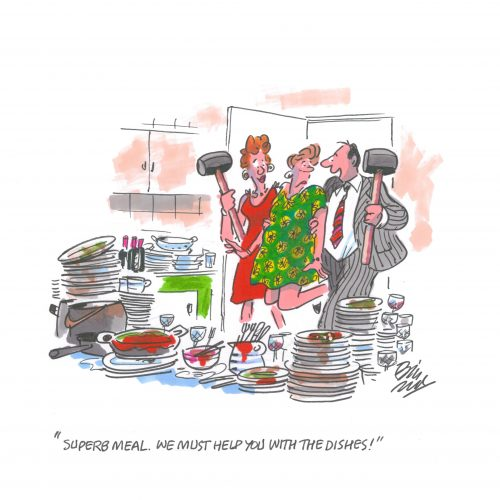 We must help you with the dishes - An Original cartoon by Bill Tidy MBE