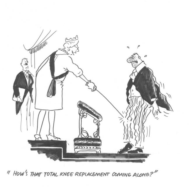 How's that knee replacement coming along? An original black and white cartoon by Bill Tidy MBE