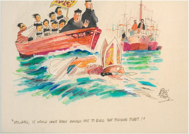 An original full colour cartoon drawn on thick card in the 80's by Bill Tidy MBE and measures 20 ins x 15 in (50.8 x 38.3 cms)