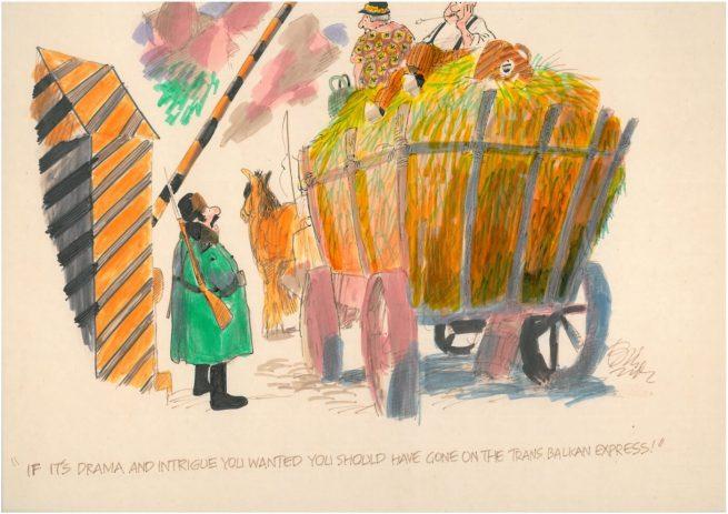 Trans Balkan Express - An original A3 landscape colour cartoon by Bill Tidy MBE