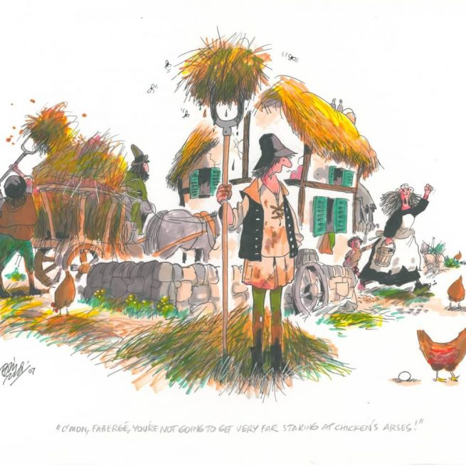Faberge - An original A3 landscape colour cartoon by Bill Tidy MBE